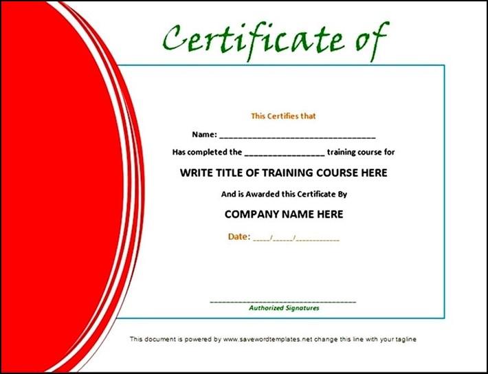 Training Certificate Template Doc Sample  Sample for Amazing Template For Training Certificate