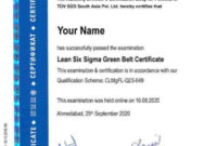 Training  Certification  Lean6Sigmapro for Awesome Green Belt Certificate Template