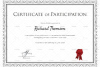Training Participation Certificate Template Regarding Free within Best Free Templates For Certificates Of Participation