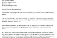 Truck Driver Cover Letter Example  Writing Tips  Resume for Quality Safe Driving Certificate Template