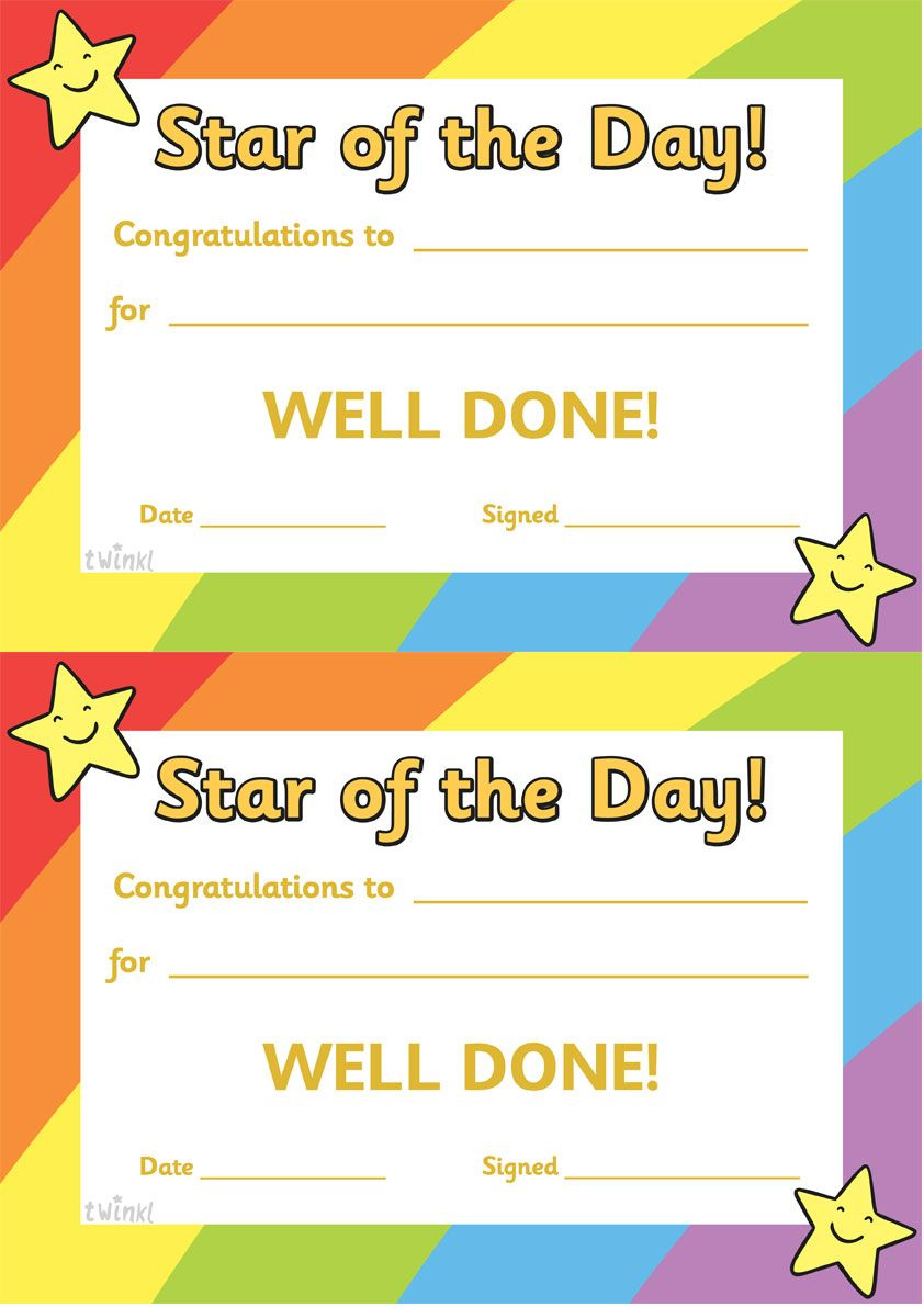 Twinkl Resources  Star Of The Day A4 Poster  Classroom intended for Awesome Star Naming Certificate Template