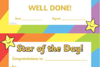 Twinkl Resources  Star Of The Day A4 Poster  Classroom throughout Quality Player Of The Day Certificate Template
