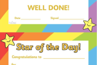 Twinkl Resources Star Of The Day Thousands Of Printable inside Amazing Teacher Of The Month Certificate Template