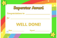 Twinkl Resources  Super Star Award Certificate with regard to Star Reader Certificate Template Free