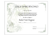 Two Usui Reiki I Certificate Printable Templates  Etsy throughout Free Share Certificate Template Australia