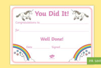 Unicorncertificate Teacher Made for Well Done Certificate Template