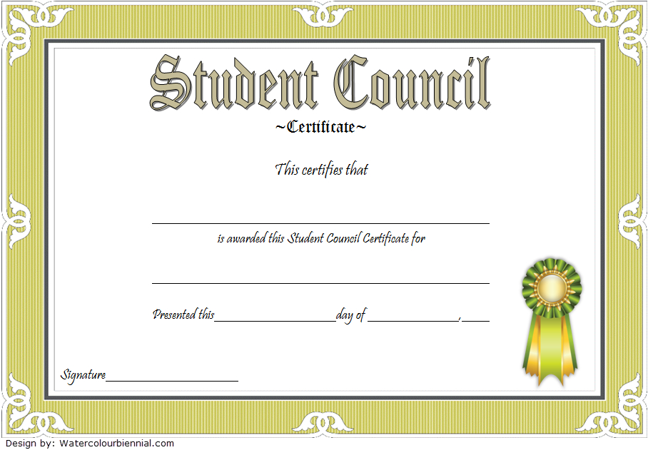 Using A Classic Design This Student Council Award with regard to Free Student Certificate Templates