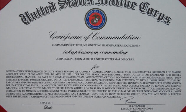 Usmc Certificate Template  Dalepmidnightpigco With Army regarding Free Good Conduct Certificate Template