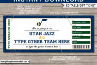 Utah Jazz Game Ticket Gift Voucher  Printable Surprise in Awesome Basketball Gift Certificate Template