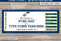 Utah Jazz Game Ticket Gift Voucher  Printable Surprise regarding Printable Basketball Gift Certificate Templates