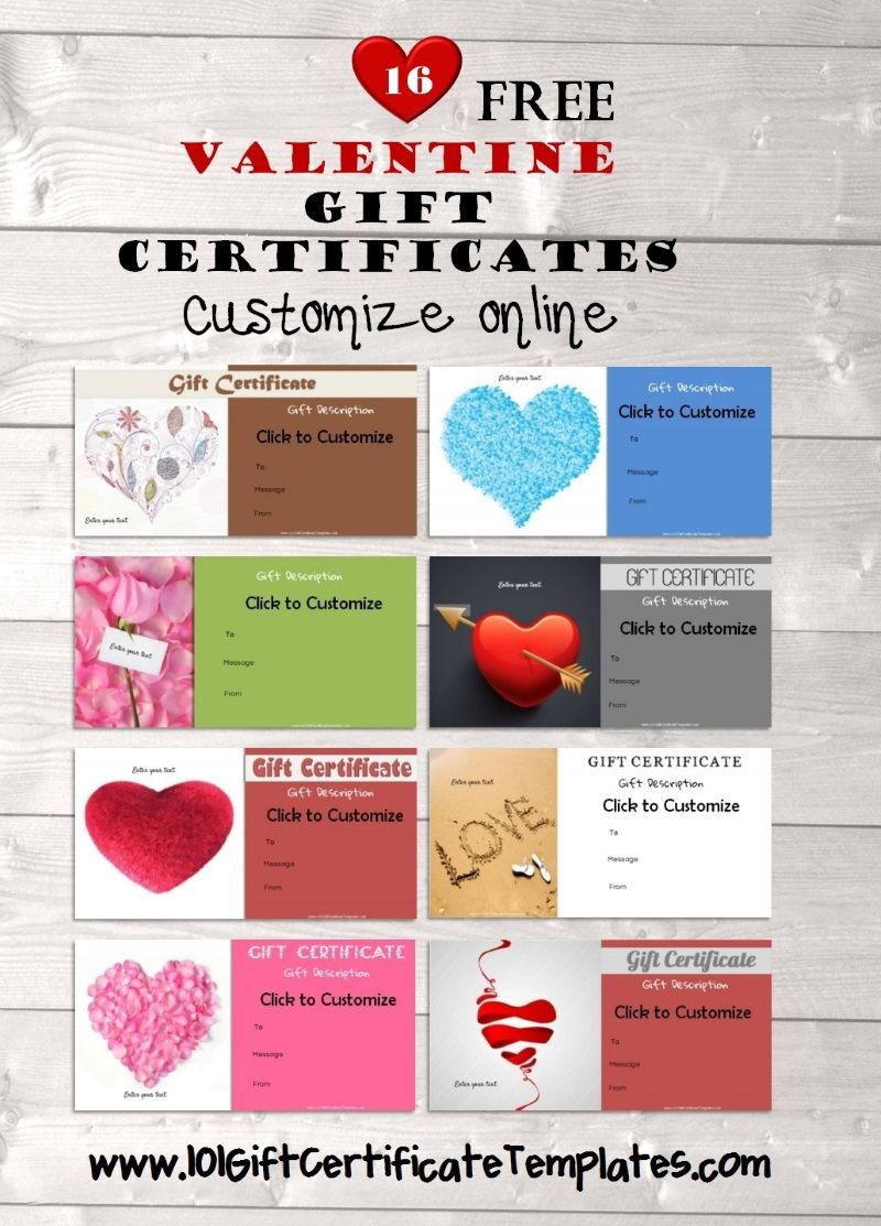 Valentines Day Gift Certificates  Free Printable Gift regarding Best Valentine Gift Certificate Template