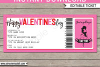 Valentine'S Day Tattoo Gift Vouchers Inside Pink Gift inside Best Tattoo Gift Certificate Template