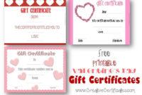 Valentine'S Gift Certificates  Printable Gift Certificate in Best Valentine Gift Certificate Template