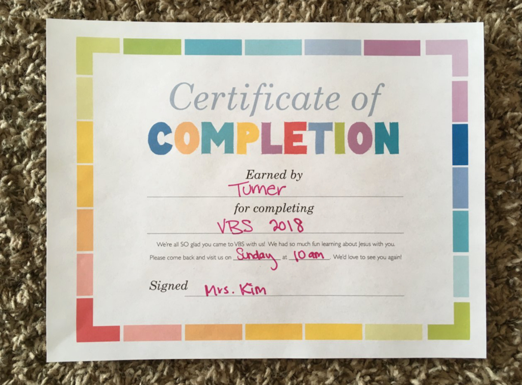 Vbs Certificate Of Completion With Images  Certificate with Printable Free Vbs Certificate Templates