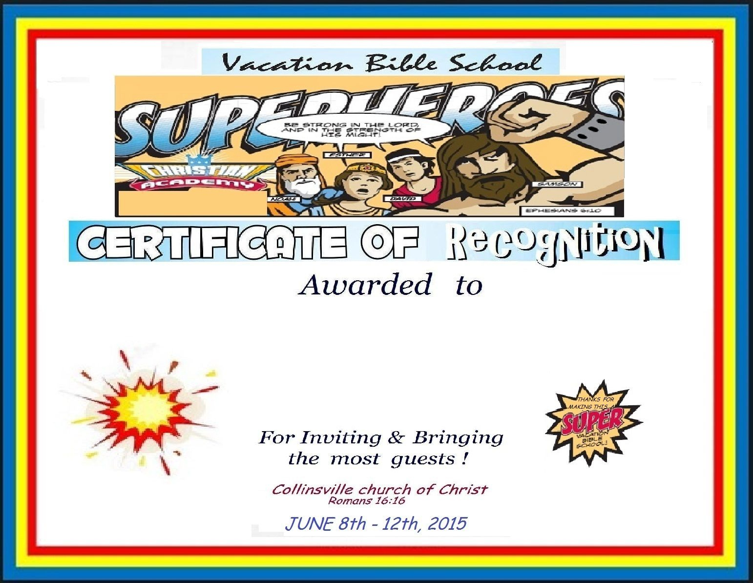 Vbs Certificate Super Heros  Vacation Bible School with regard to Quality Printable Vbs Certificates Free