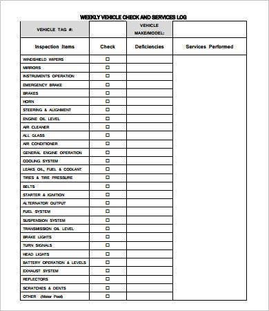 Vehicle Maintenance Log  7 Free Pdf Excel Documents with Machine Maintenance Log Template