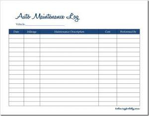 Vehicle Maintenance Spreadsheet  Charlotte Clergy Coalition within Machinery Maintenance Log Template