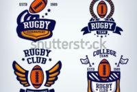 Vetor Stock De Rugby Club Emblem College League Logo inside Rugby League Certificate Templates