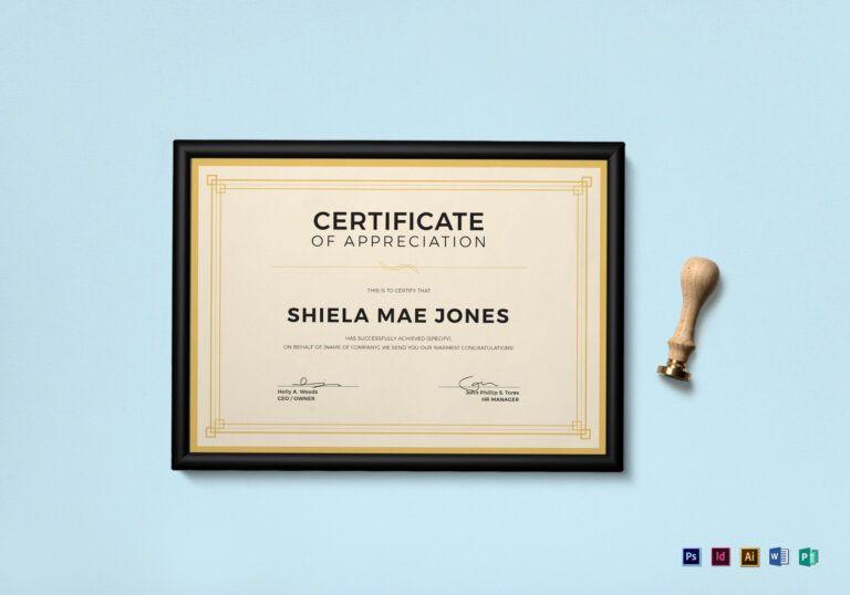 Vintage Certificate Of Appreciation Template With Regard within Indesign Certificate Template
