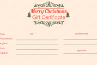 Vintage Christmas Gift Certificate Template inside Printable Free Christmas Gift Certificate Templates