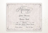 Vintage Wedding Certificate Printable Certificate Of intended for Free Marriage Certificate Editable Template