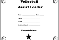 Volleyball Assist Leader Award Certificate Template in Volleyball Mvp Certificate Templates