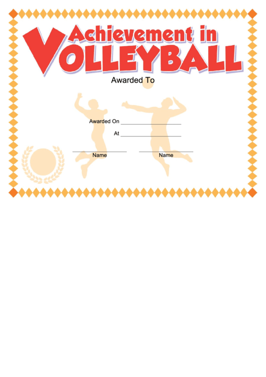 Volleyball Certificate Printable Pdf Download intended for Volleyball Award Certificate Template Free
