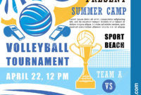 Volleyball Tournament In School Summer Camp Poster Stock pertaining to Free Volleyball Tournament Certificate