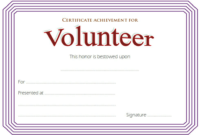 Volunteer Achievement Certificate Template Free 2 within Amazing Community Service Certificate Template Free Ideas