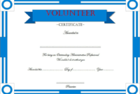Volunteer Of The Year Certificate Template Free Printable inside Amazing Community Service Certificate Template Free Ideas