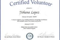 Volunteer Of The Year Certificate Template   Years Of in Volunteer Award Certificate Template
