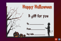 Walking Cat Themed Halloween Gift Certificate  Gct with regard to Walking Certificate Templates