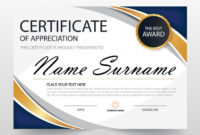 Wavy Certificate Of Appreciation Template Free Vector in Anniversary Certificate Template Free
