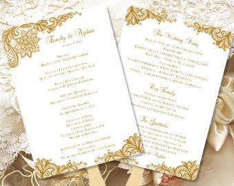 Wedding Ceremony Program Template Vintage Gold within Amazing Wedding Ceremony Agenda Template