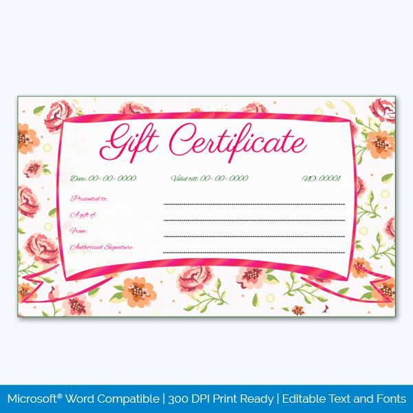 Wedding Gift Certificate  Pink Flower Border In 2020 pertaining to Pink Gift Certificate Template