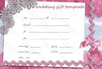 Wedding Gift Certificate Templates regarding Quality Free Editable Wedding Gift Certificate Template