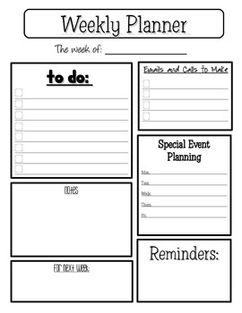 Weekly Planner Sheetthe Teaching Chameleon  Tpt inside Awesome Weekly Work Log Sheet Template