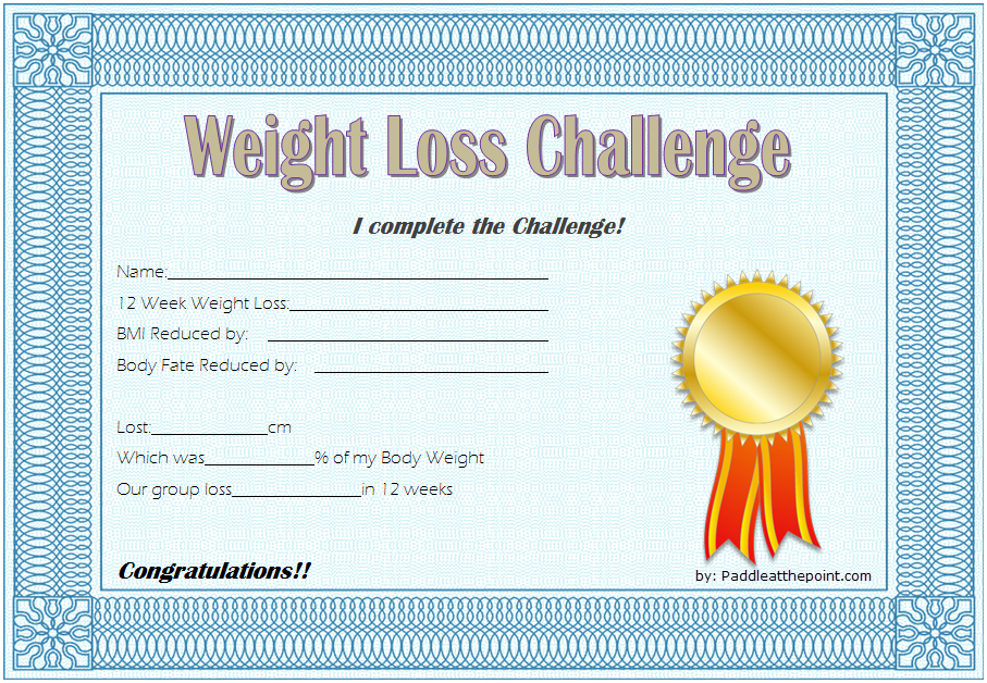 Weight Loss Certificate Template Free 8 New Designs pertaining to Bake Off Certificate Template