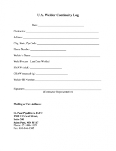 Welder Continuity Log Template with Awesome Welder Continuity Log Template