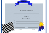 Woodcar Derby First Place Certificate Template Download for Quality First Place Certificate Template