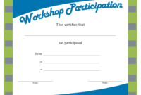 Workshop Certificate Of Participation Template Download intended for Best Participation Certificate Templates Free Printable