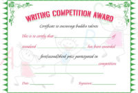 Writing Competition Award Certificate  Writing in Quality Music Certificate Template For Word Free 12 Ideas