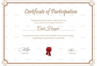 Writing Contest Participation Certificate Design Template inside Certificate Of Participation Word Template