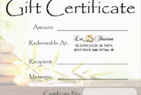 Yoga Gift Certificate Template Free New Beautiful Spa Gift pertaining to Awesome Baptism Certificate Template Word 9 Fresh Ideas