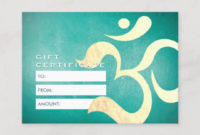 Yoga Meditation Instructor Gift Certificate Om  Zazzle intended for Yoga Gift Certificate Template Free