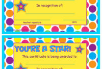 You'Re A Star End Of The Year Certificates Classroom regarding Amazing Star Award Certificate Template