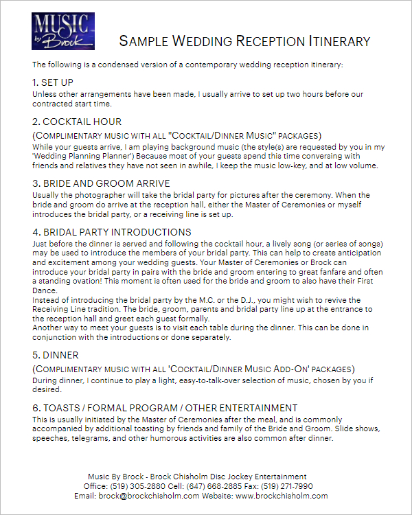 33 Free Itinerary Templates Word Doc Design Formats intended for Wedding Party Itinerary Template