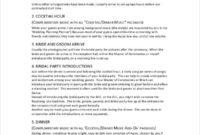 7 Wedding Itinerary Template  Free Sample Example with regard to Wedding Party Itinerary Template