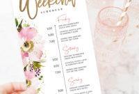 Bachelorette Weekend Itinerary Editable Template Wedding inside Bachelorette Weekend Itinerary Template