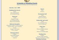 Free Wedding Reception Itinerary Template  Vincegray2014 pertaining to Wedding Reception Itinerary Template